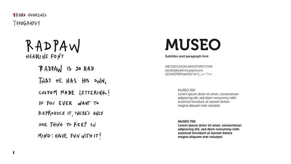 Radpaw typography