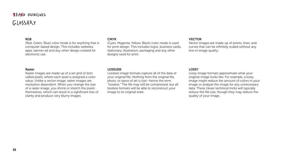 Brand guideline glossary