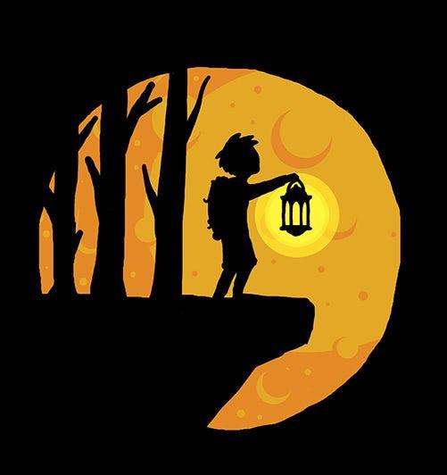 Kid with a lantern in the dark