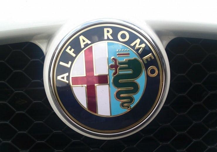 Alfa Romeo logo showing the Biscione