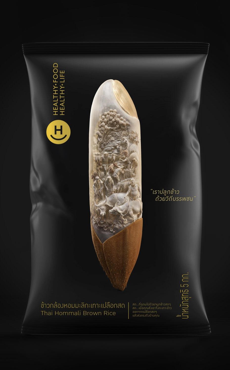 Packaging design trends 2020 example: Metamorphoses Elegant Thai rice packaging