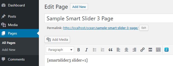 Insert Smart Slider 3 with Shortcode