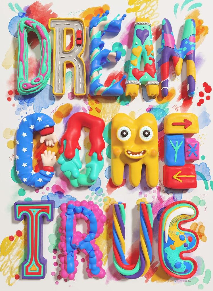 Kate Moross colorful 3D hand-lettering