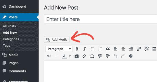 Add media button