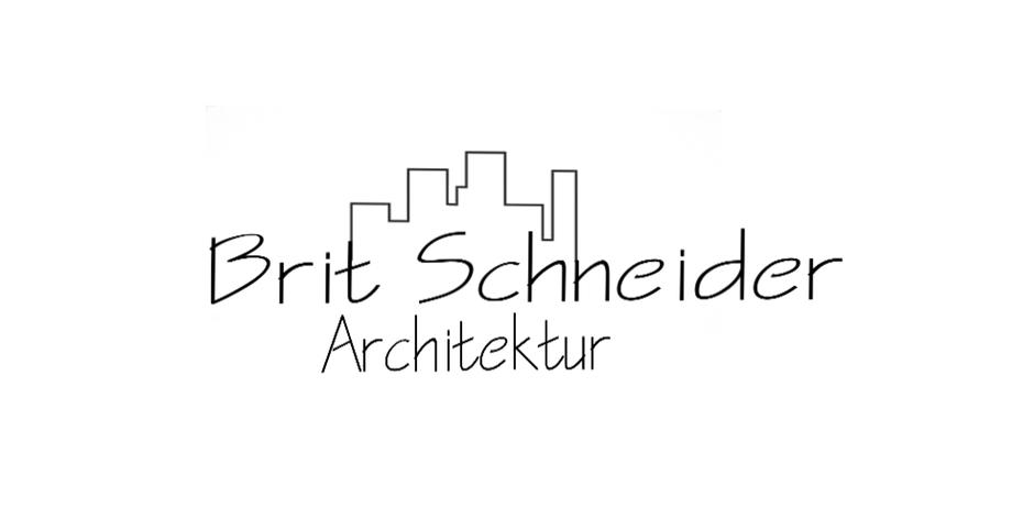 """Line drawing logo showing the name """"Brit Schneider Architektur"""" below a city skyline"""