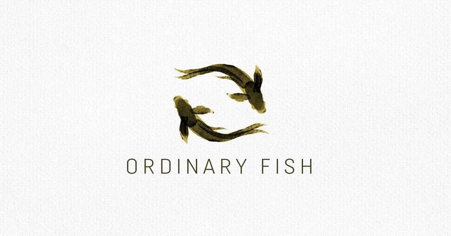 symmetrical watercolor two fish logo