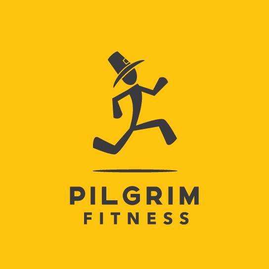 A fitness logo running man character