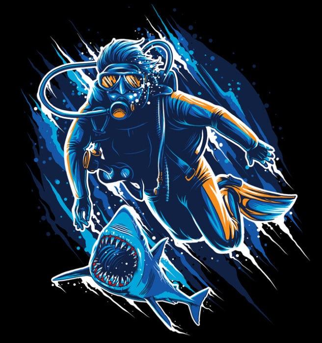 Shark chasing diver illustration