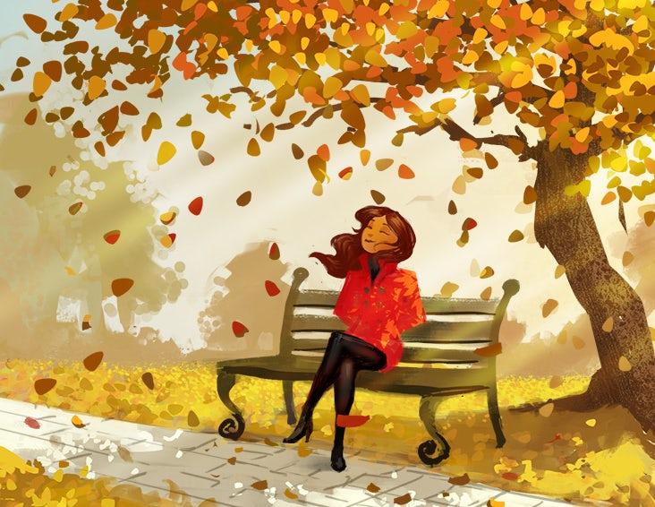 Woman enjoying autumn leaves illustration