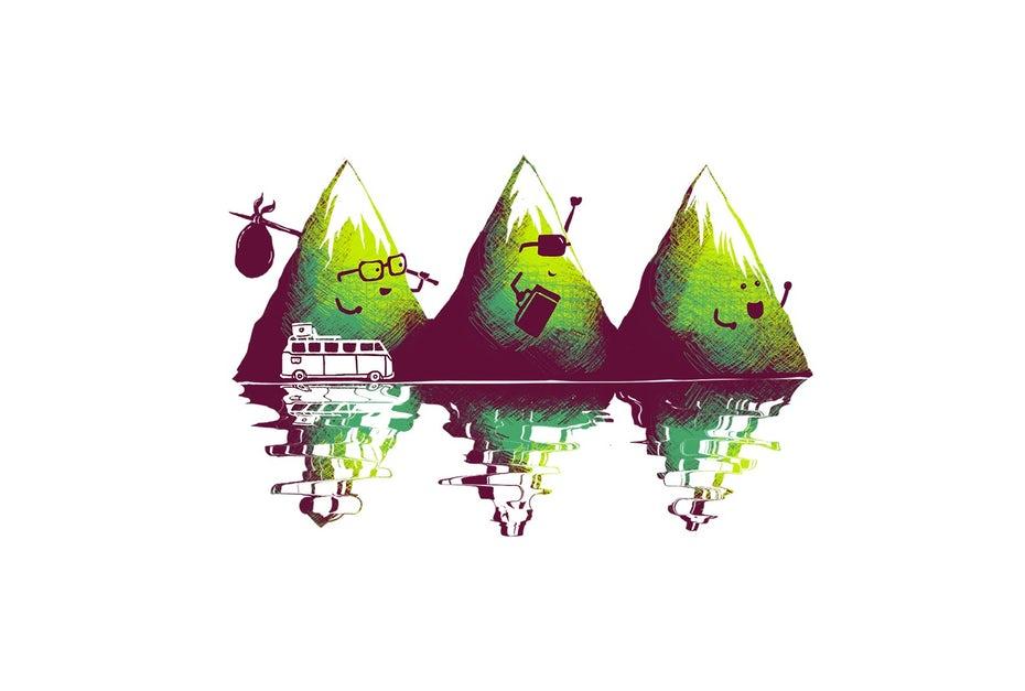 Travelling mountain illustration