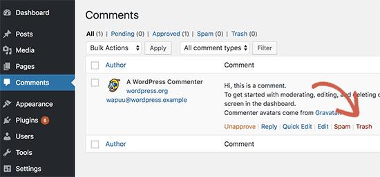 Delete default comment