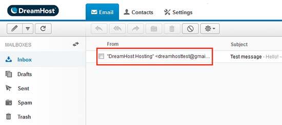 Dreamhost webmail UI