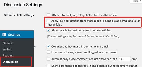 Disable trackbacks in WordPress