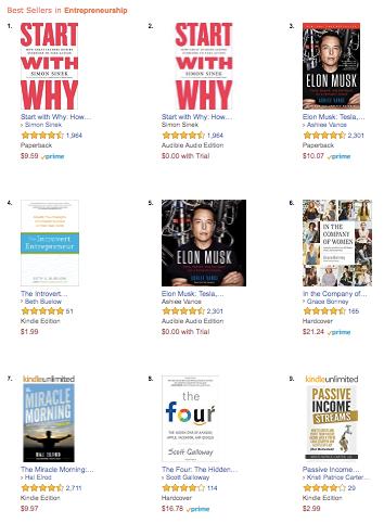 Entrepreneurship category on Amazon