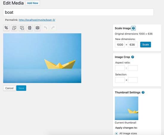 Edit image screen