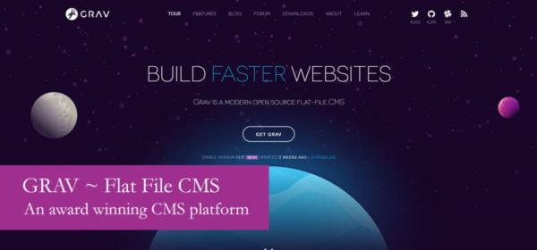 GRAV Flat File CMS Content Management System Database Hosting Visual Editor Post Blog Website