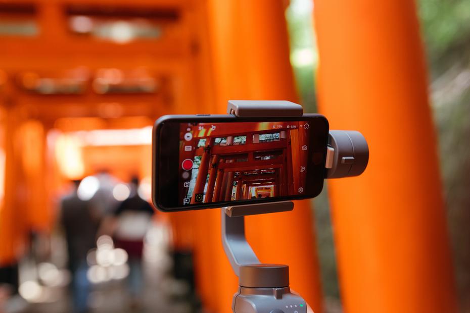 iPhone shooting video on a gimbal