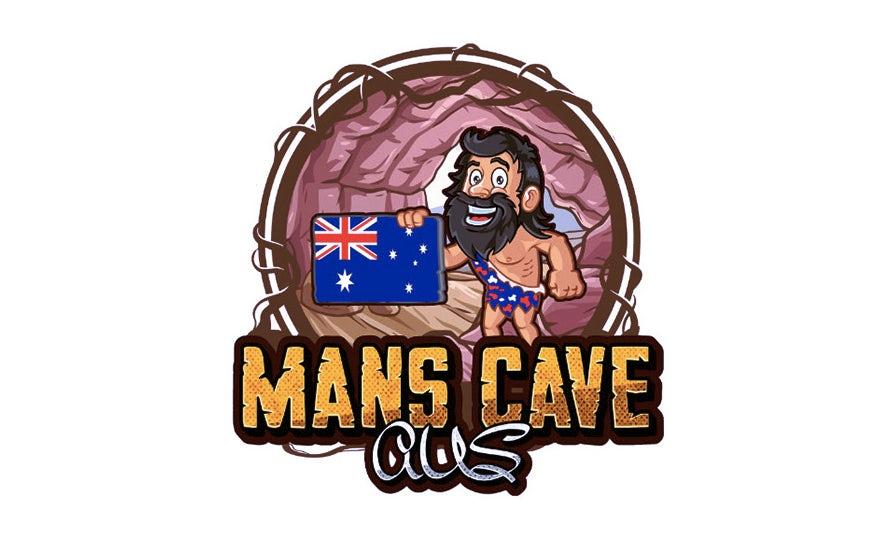 bad logo design of Mans Cave AUS