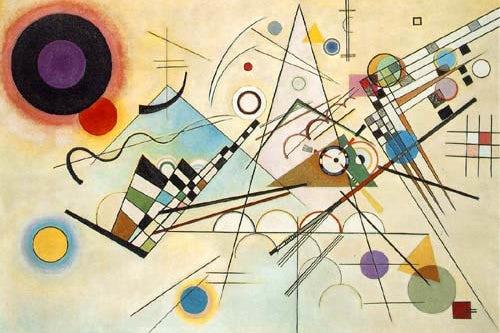 modernist image comprised of multiple colored shapes