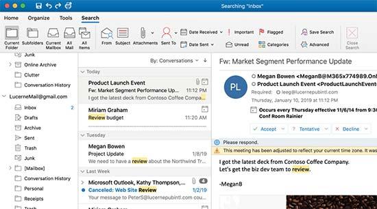 Microsoft Outlook on Mac