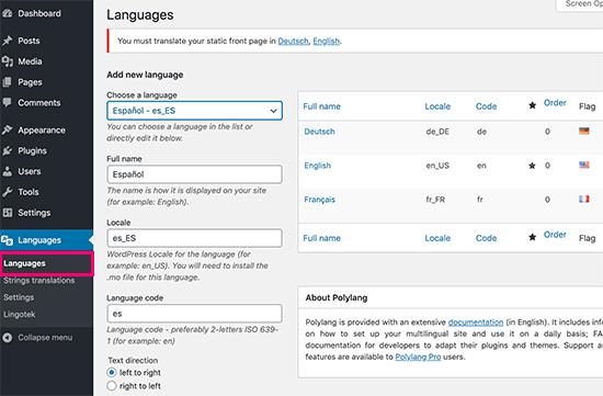 Adding languages