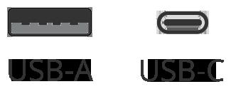 USB-A and USB-C ports