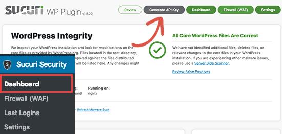 Generate Sucuri API Key