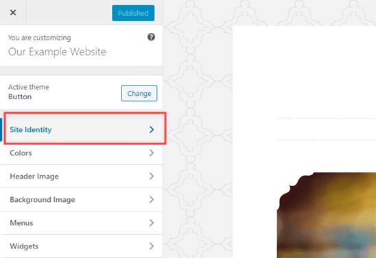The Site Identity tab in the WordPress Theme Customizer