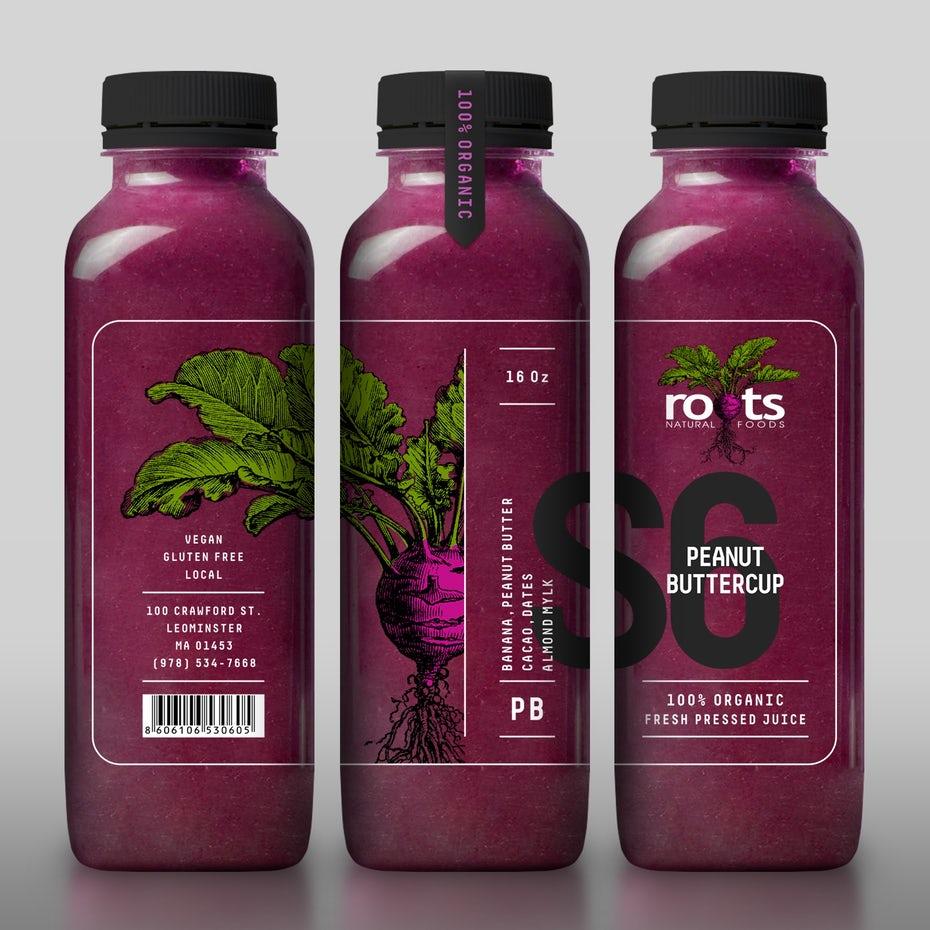 Packaging design trends 2020 example: transparent bottle design with beetroot illustration