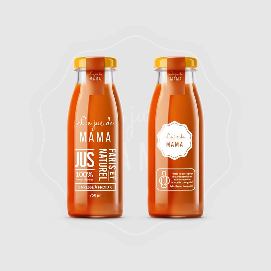 Packaging design trends 2020 example: transparent juice bottle design